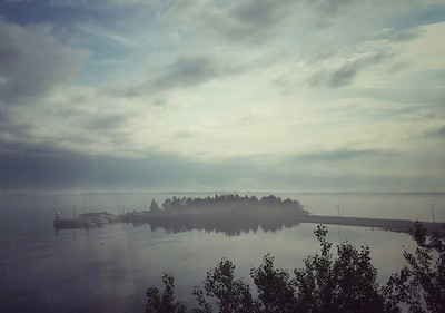 New Brunswick coastline, seen from the Ocean Sleeper, Montreal to Halifax.