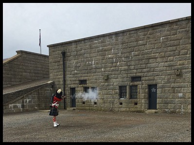 Infrantryman firing his musket to demonstrate the noise and smoke!