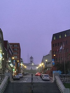 Looking west up Carmichael Street from Grand Parade towards the Old Town Clock Tower, Halifax.