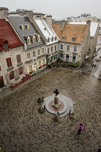"""Circles of influence"" -The Place-royal is where Samuel de Champlain founded his settlement in New France in 1608. This is where French Canadian culture started way back then and it's now a UNESCO World Heritage site. It's wild to walk down the Cobblestones and get transported back 400 years in Quebec City., Quebec City, Quebec, november, rainy"