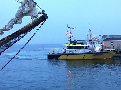 Pilot boat coming in to dock at Halifax waterfront, Halifax, Nova Scotia.