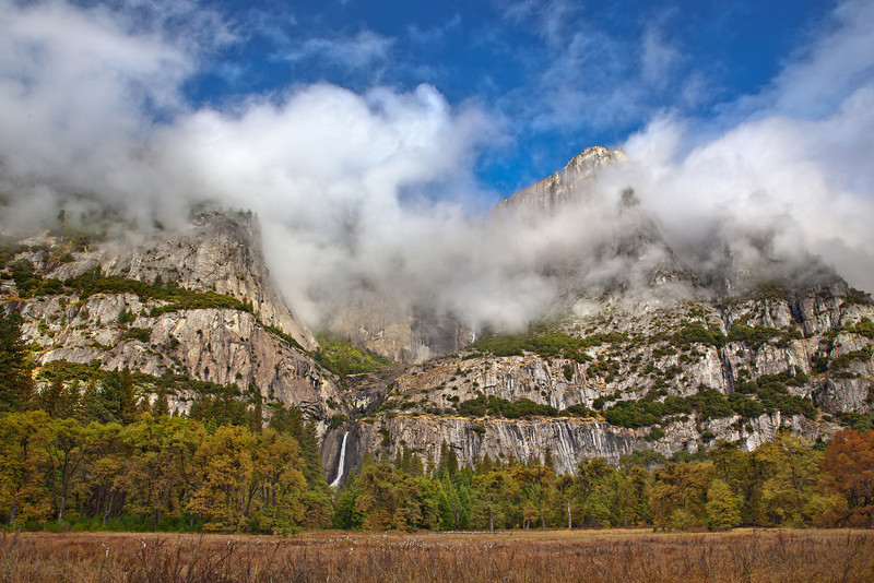 """Yosemite Falls and Cooks Meadow during Fall"""