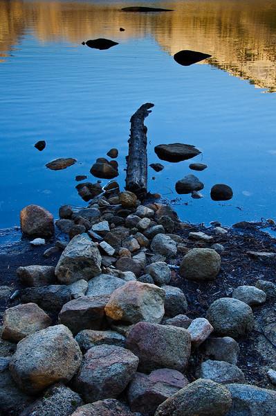 Rocks and log in Tenaya Lake Yosemite