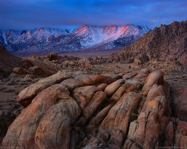 Overcast Alpen Glow in Sierra and Alabama Hills