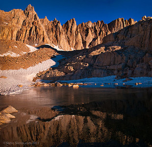 14,000 ft Mt Muir reflecting above Trail Camp on the main Whitney Trail.