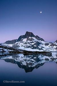Moon Setting over Banner Peak & Mt. Ritter Reflected in Thousand Island Lake   Ansel Adams Wilderness, Eastern Sierra Nevada