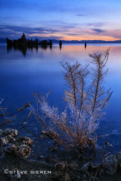 Tranquil Dawn - Mono Lake, California. On this particular morning I watced the light change from full moon light to the blue pastel light of dawn into daylight creeping in through the horizon.