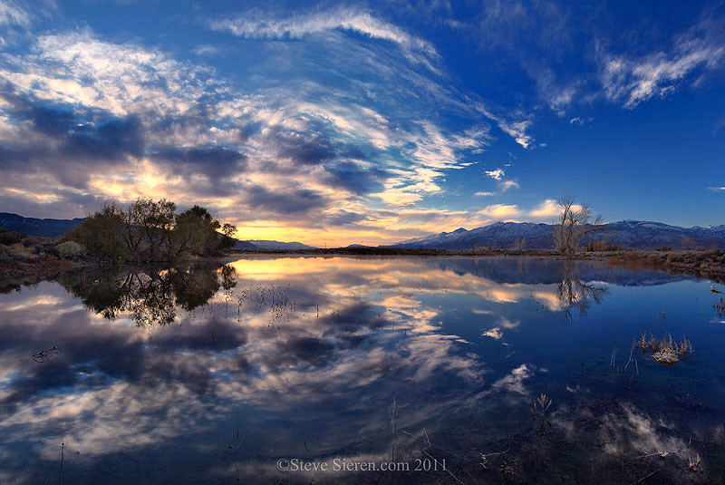 ©Steve Sieren 2011 -  Reflection at Farmer's Pond in Bishop, California - Eastern Sierra.  This is one of those spots Galen Rowell made famous but at least I have composed my scenes differently while photographing here rather then duplicate what has already been done.