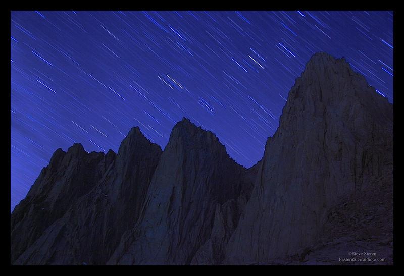 Mt Whitney star trails Eastern Sierra