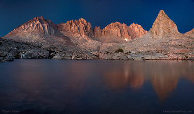 The Palisades reflecting in one of the lakes in the Dusy Basin of Kings Canyon National Park, Eastern Sierra high country.  Some of the hardest climbing in the Sierra Nevada can be found on these peaks. I've only done the easiest one which doesn't even compare to some of the wildness in there.