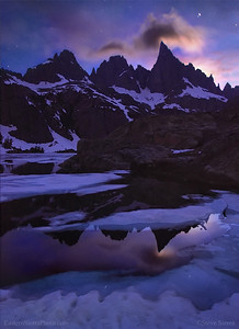 Setting moon on the minarets in the Ansel Adams Wilderness