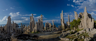 This is an eight-exposure vertical panorama, taken through about 220 degrees from left to right. The panorama makes the scene look flatter than it was; in reality, the tufa are in an arc and with the ones behind me (not shown) comprise a rough circle. D'An dubbed the place Harry Potter's Chamber.