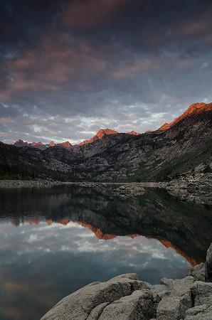 North to Bishop and sunrise at Lake Sabrina