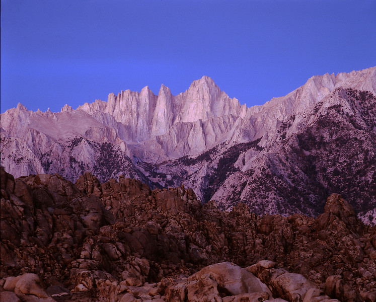 Mt Whitney Alpen Glow, Alabama Hills