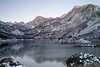 Sunrise at Lake Sabrina. It is about 10 degrees F with a gentle breeze blowing.