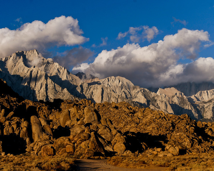 Lone Pine Mountain on left with Mt. Whitney hidden in the clouds.