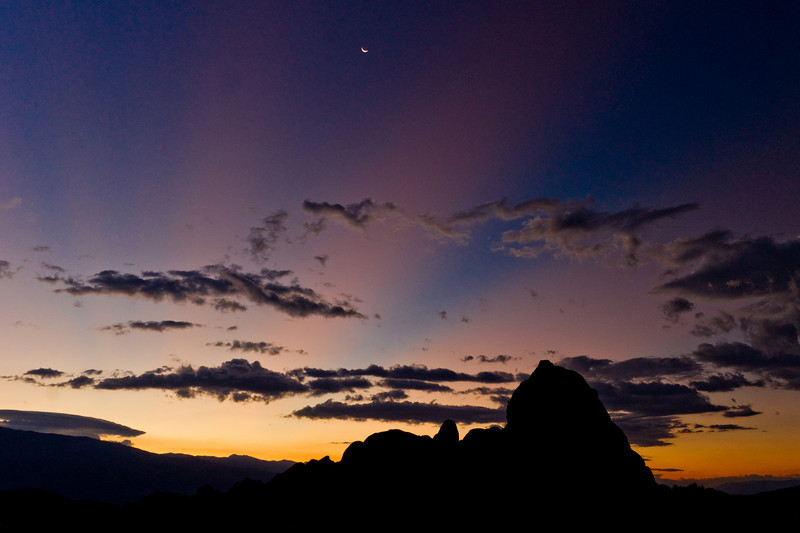 Alabama Hills at sunrise with crescent moon