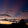 Alabama Hills at sunrise with crescent moon