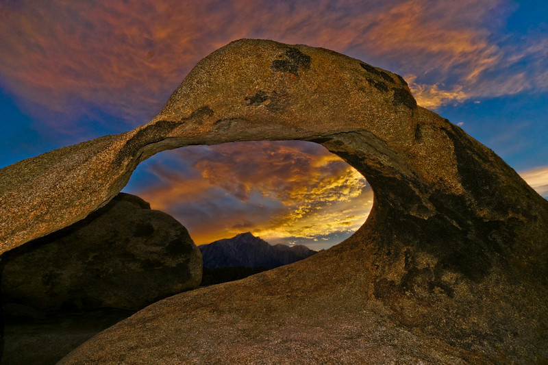 Mobius Arch at sunset with Lone Pine Mtn. in the center.
