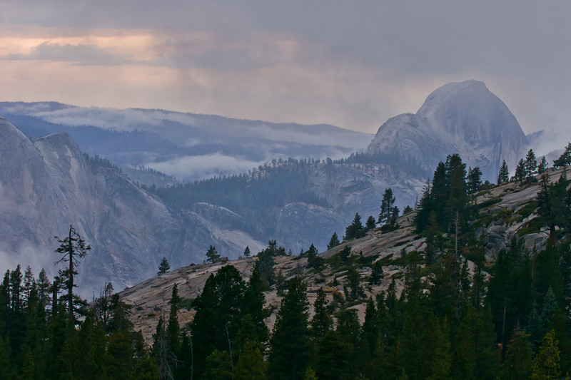 Half Dome and Clouds Rest from Olmstead Point at sunset
