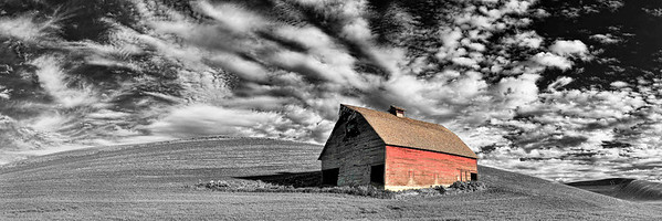 """Palouse Pioneer"" An exquisite sky and the gently rolling hills of the Palouse provide the perfect backdrop for this old barn near the town of Colfax. Though showing its age, it's been given a relatively new shake roof and spared the indignity of the rusted corrugated ones so often seen."
