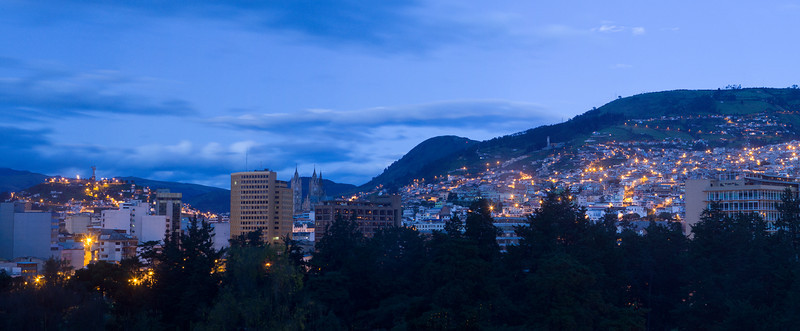 Quito at dusk - view from the Hilton hotel room.