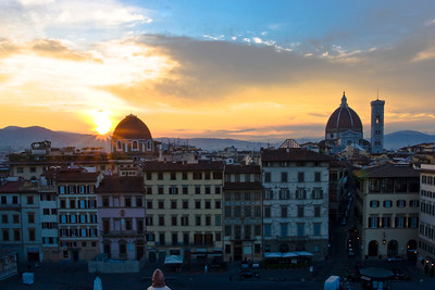 Sunrise over the Duomo and Florence.