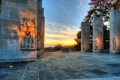 The War Memorial at Sunset. The eight pylons at the War Memorial are etched with the names of every Virginia Tech student and graduate who died defending our nation's freedom, beginning with those lost during World War I. At the War Memorial's center, the cenotaph displays the names of Virginia Tech's seven Medal of Honor recipients.