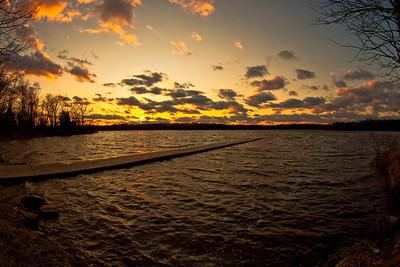 Beaverdam Creek Reservoir on a cold windy February evening.