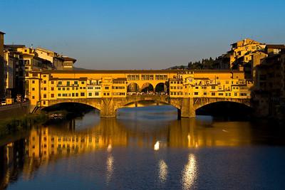 The Ponte Vecchio near sunset.