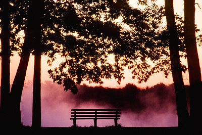 "#80 This was an amazing early September morning. This was one of the first really chilly mornings we had where the cool morning air reacts with the still warm water of the Detroit river to create the rising fog you see appearing behind the park bench on the hill. This was taken just moments before the sun rose over the trees of Grosse Isle. There is nothing altered about this photograph. I simply metered for the sky and used a 200mm lens. Shot on Fujichrome Velvia 50 with no color alterations at all. Just a pure Elizabeth Park sunrise.  *For information on purchasing prints and canvas gallery wraps, click the ""Purchasing"" tab at the top of the page. If viewing on your mobile device, scroll to the bottom of the page and click the ""Full Site"" tab to view as if you were on your home PC and then go to the ""Purchase"" tab to for purchasing info. In mobile mode, you will not see the standard navigation bar with the ""Purchase"" tab."