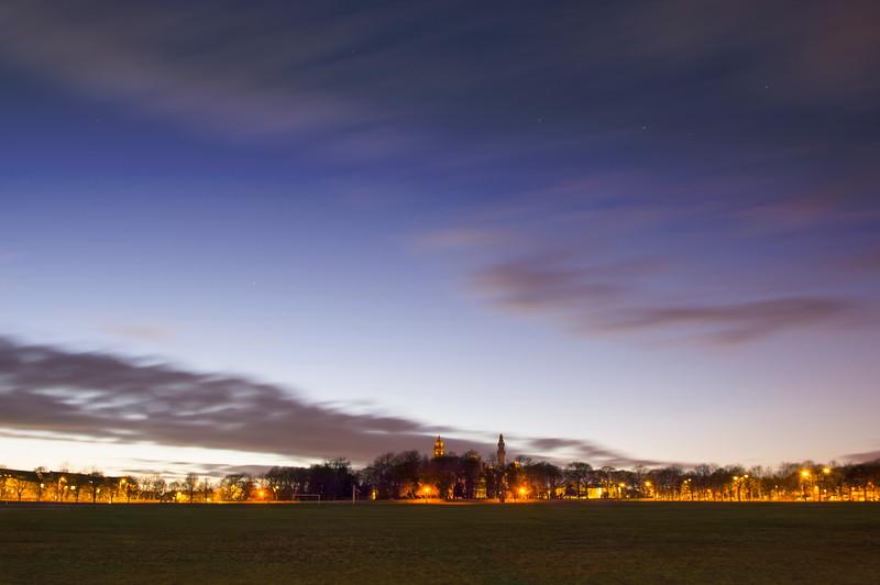 Crossleyy Heath and Wainhouse Tower, Calderdale Halifax at sunset.