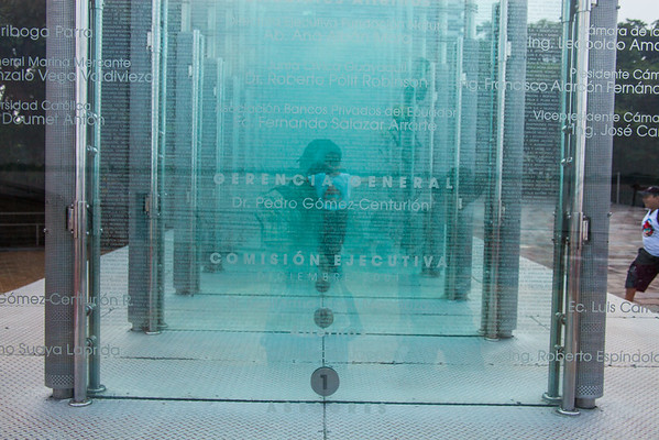 Glass monument to the donors of the Malecon 2000, Guayaquil, Ecuador.