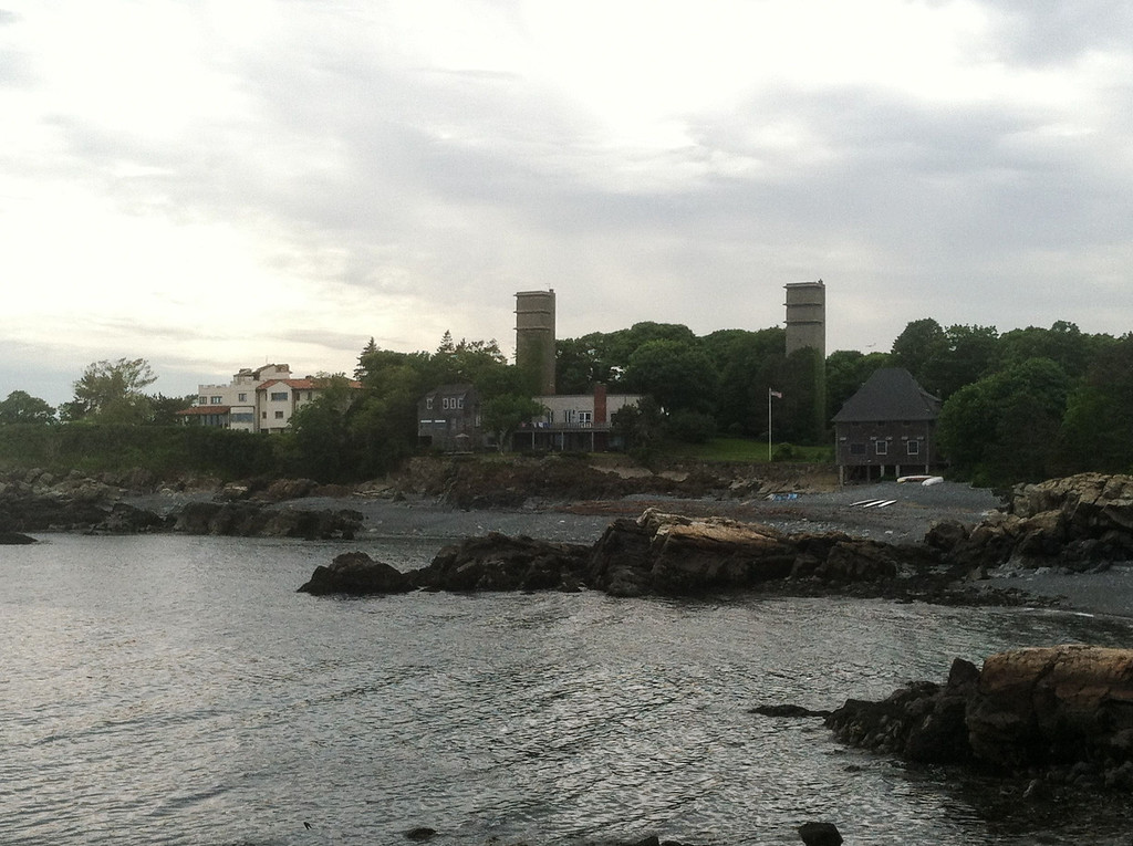 East Point Coastal Defense area.<br /> <br /> The two towers were fire control towers used in anti-submarine operations during World War II. On the extreme left is the location of Swallow's Cave.
