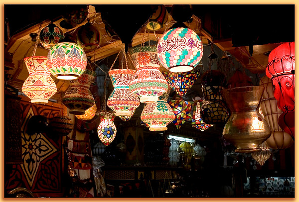 Islamic Cairo's Khan al-Khalili is a virtual labyrinth of narrow alleyways lined with mysterious, enticing shops such as this one selling lamps.