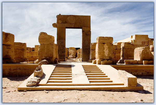 The Cenotaph Temple of Ramesses II at Abydos...Pink Granite Portal leading into a courtyard