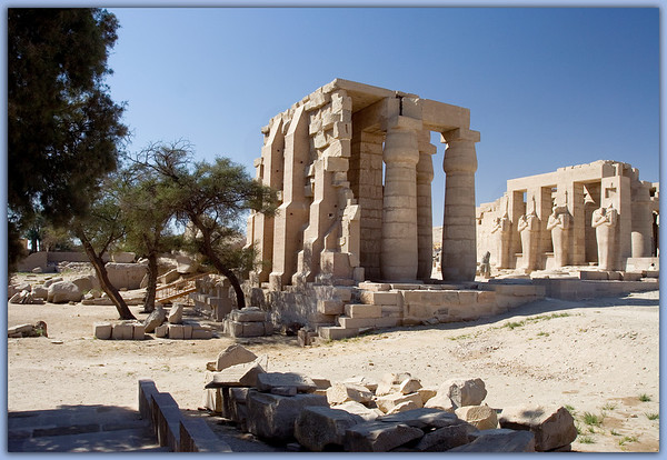 """Entering the Ramesseum on the West Bank of Luxor<br /> It was built for Ramesses II or """"Ramsesses the Great"""" aka Ozymandias. This is also the site where the """"colossal wreck"""" of Shelly's poem was found."""