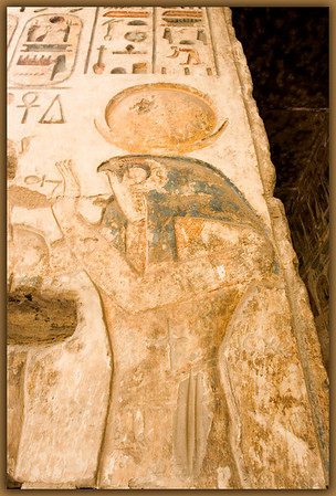 Wall relief of Horus, The Falcon God, at Medinet Habu