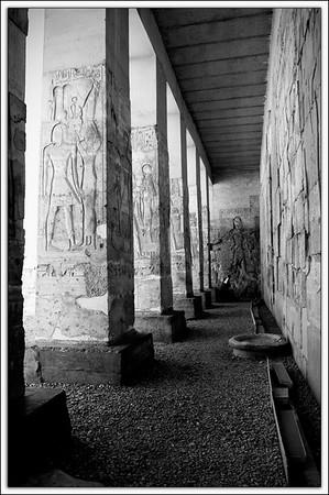 Temple of Seti I exterior columns..Abydos, Egypt