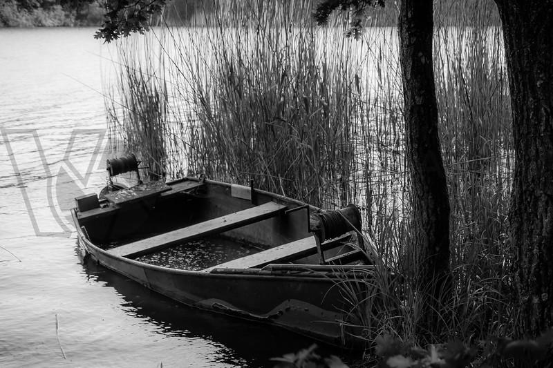 Flooded Lake Boat, Lorraine, France