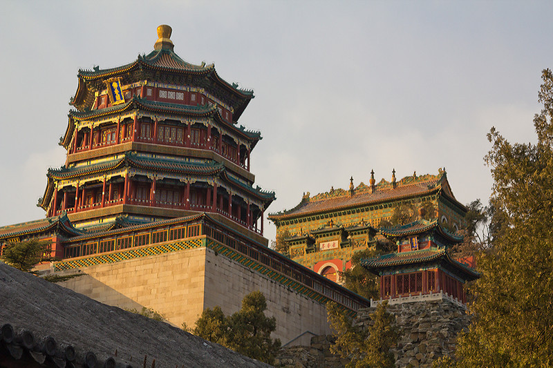 (CH-10359)  Temples at the Summer Palace in Beijing.