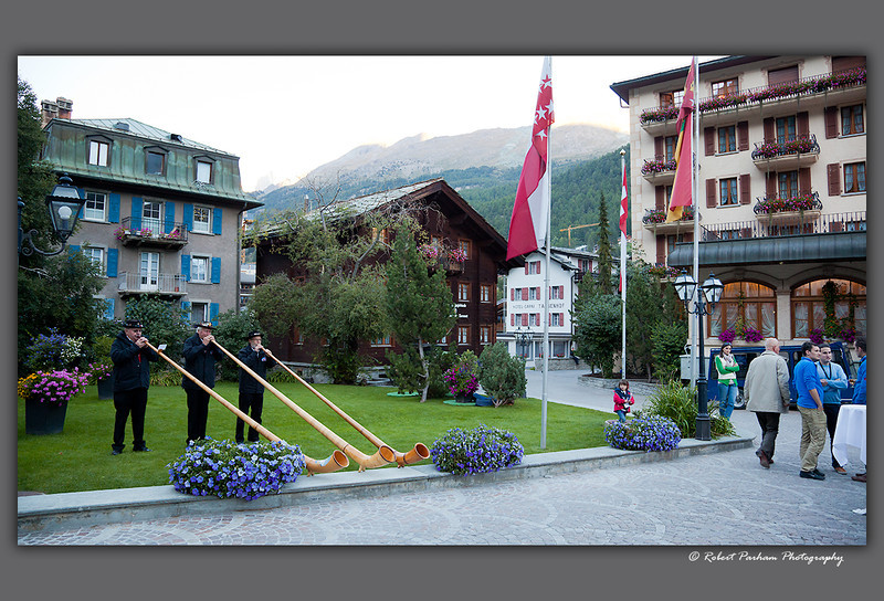 (SW-12171)  An alphorn trio in Zermatt, Switzerland.