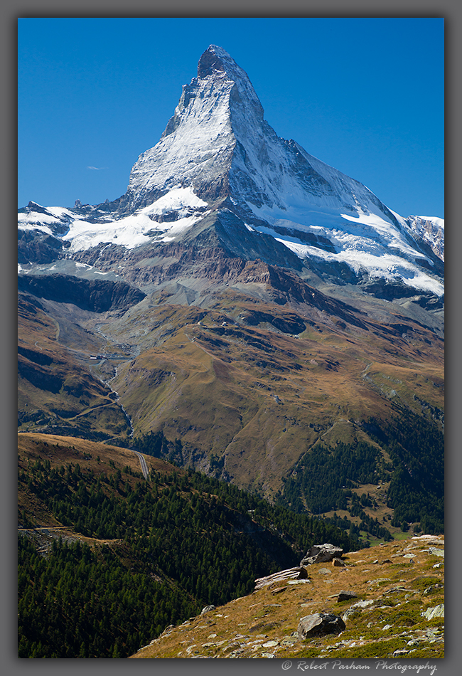 (SW-12095)  The Matterhorn viewed from Rothorn high above Zermatt, Switzerland.