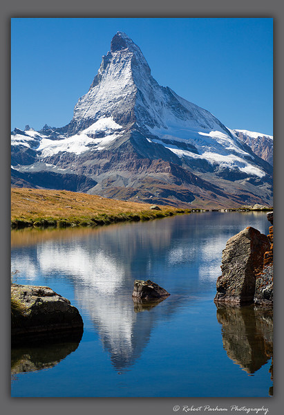 (SW-12103)  Matterhorn reflected in Stellisee Lake above Zermatt, Switzerland.
