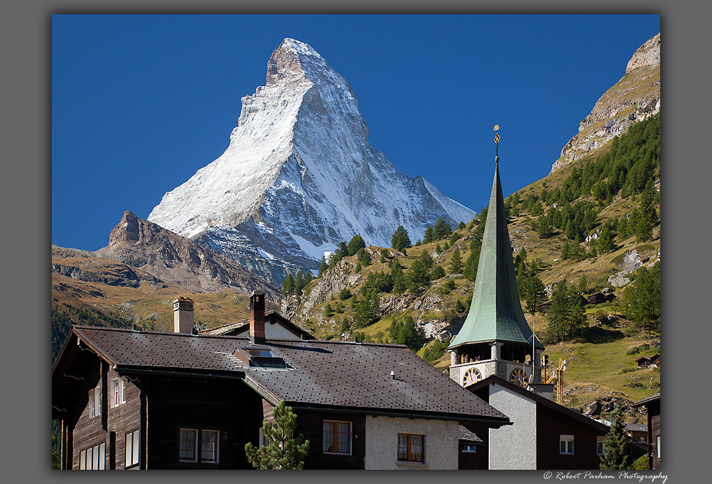 (SW-12052)  The Matterhorn rises above Zermatt, Switzerland.