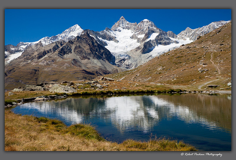 (SW-12097)  The Ober Gabelhorn viewed from Stellisee Lake above Zermatt, Switzerland.