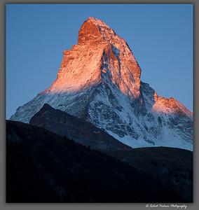 (SW-12181crop)  The Matterhorn at sunrise viewed from Zermatt, Switzerland.