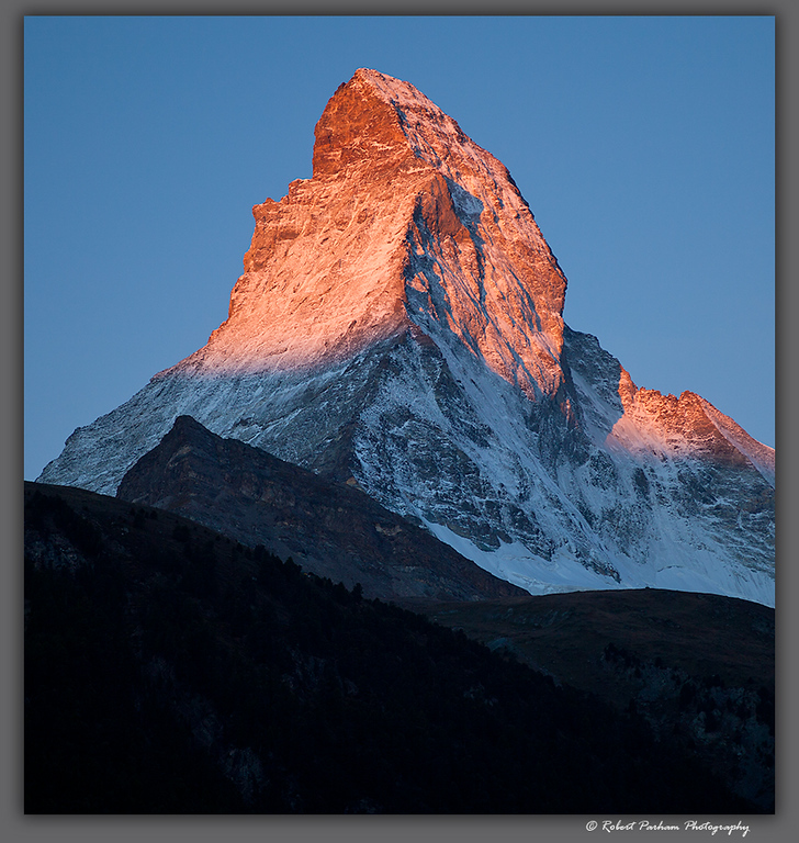 (SW-12181crop)  The Matterhorn at sunrise viewed from Zermatt, Switzerland.