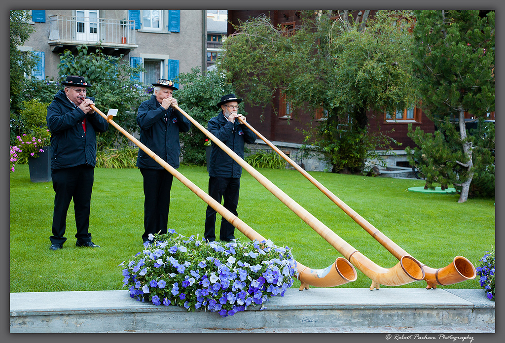 (SW-12170)  An alphorn trio in Zermatt, Switzerland.