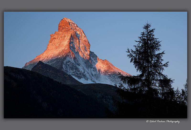 (SW-12181) The Matterhorn at sunrise viewed from Zermatt, Switzerland.